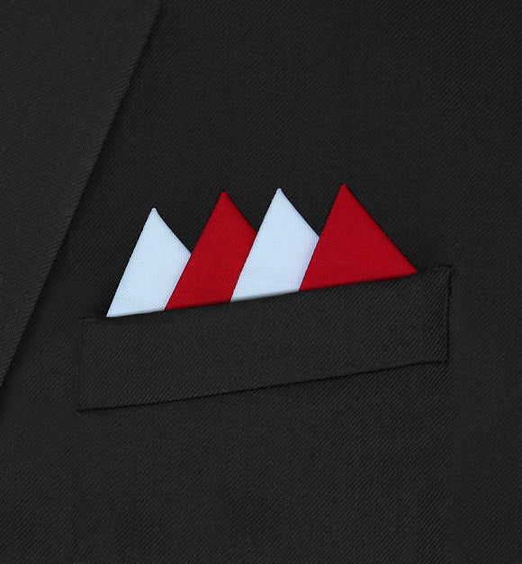 Piccadilly - Four Triangle White & Red Pocket Square - Hankyz.com