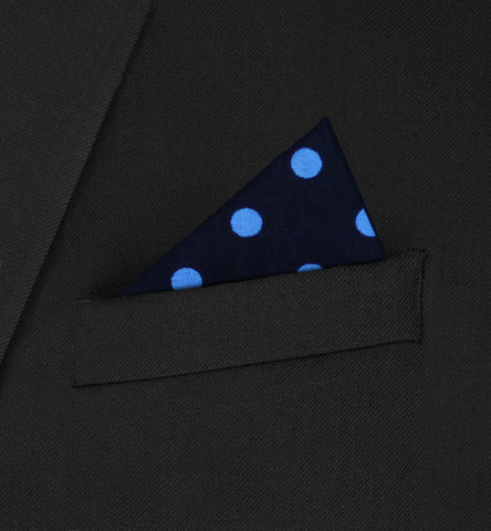Belgravia - triangle blue polka dot on dark blue