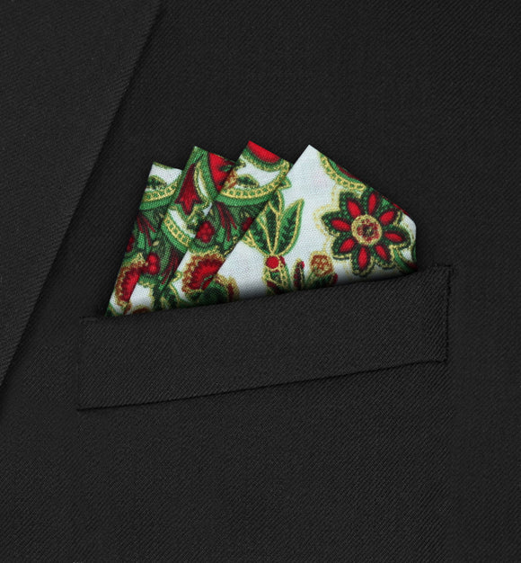 Knightsbridge - Four Point Triangle Ivory Paisley Pocket Square - Hankyz.com