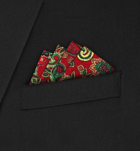 Knightsbridge - Four Point Triangle Red Paisley Pocket Square - Hankyz.com