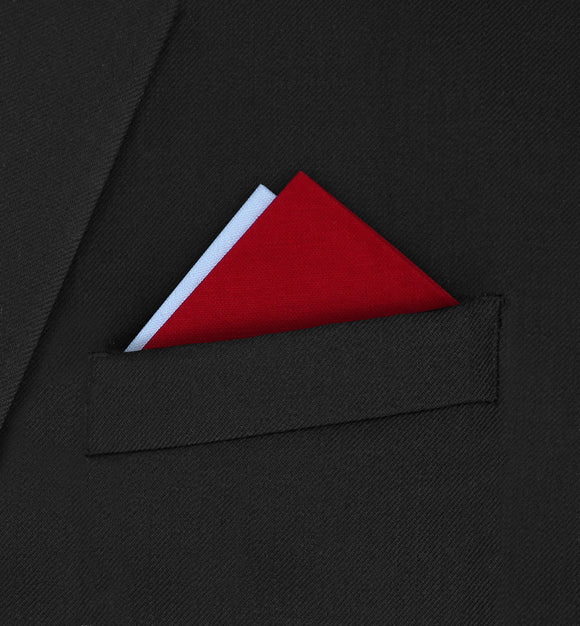 Notting Hill - Two Point Triangle White & Red Pocket Square - Hankyz.com