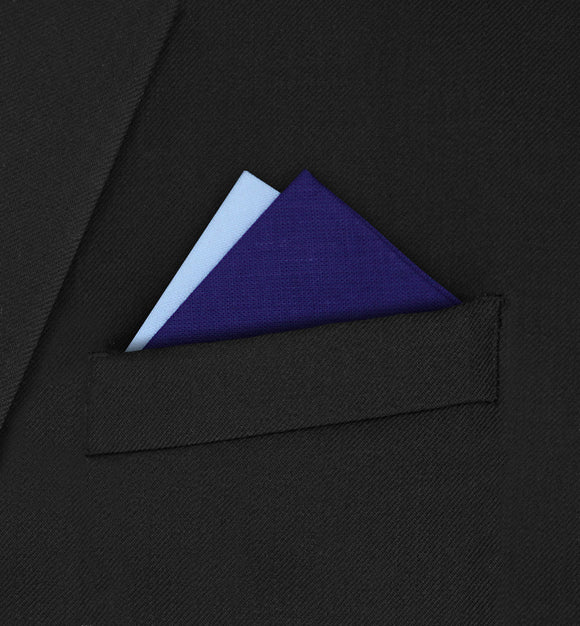 Notting Hill - Two Point Triangle White & Dark Purple Pocket Square - Hankyz.com