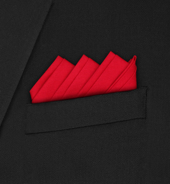 Oxford - Four Triangle Double Fold Red Pocket Square - Hankyz.com