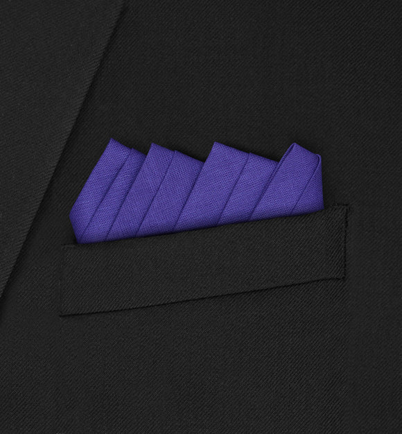 Oxford - Four Triangle Double Fold Dark Purple Pocket Square - Hankyz.com