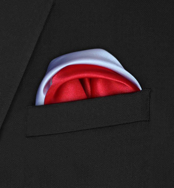 Regent - Two Puffed White & Red Pocket Square - Hankyz.com