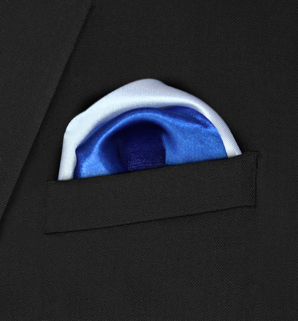 Regent - Two Puffed White & Royal Pocket Square - Hankyz.com