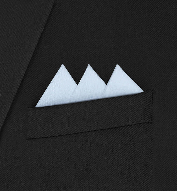 Ritz - Three Triangle White Pocket Square - Hankyz.com