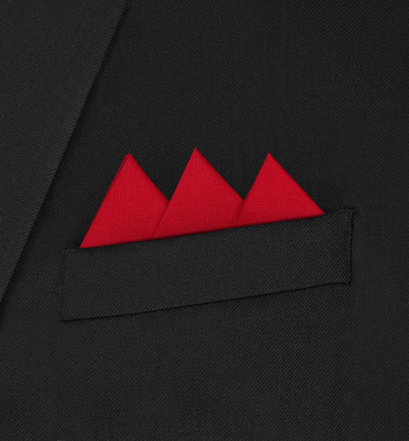 Ritz - Three Triangle Red Pocket Square - Hankyz.com