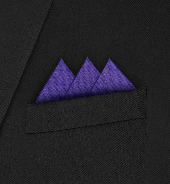 Ritz - Three Triangle Dark Purple Pocket Square - Hankyz.com