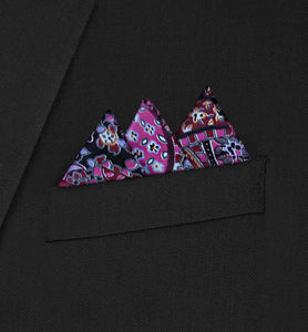 Ritz - Three Triangle Pink Paisley Pocket Square - Hankyz.com