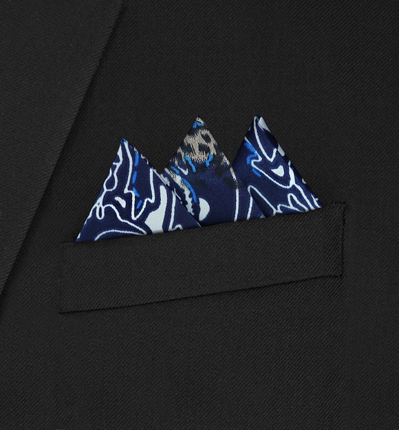 Ritz - Three Triangle Blue Paisley Pocket Square - Hankyz.com