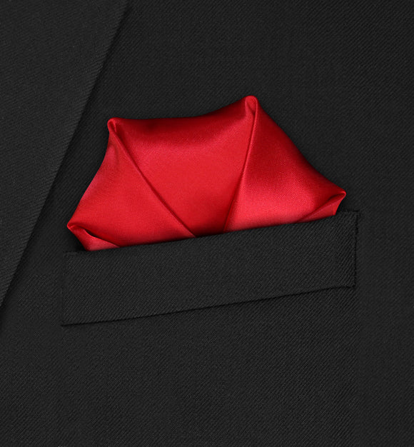 Carnaby - Four Point Puffed Red Pocket Square - Hankyz.com