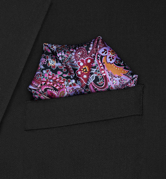 Carnaby - Four Point Puffed Red Paisley Pocket Square - Hankyz.com