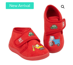 Boys infant red tractor slippers