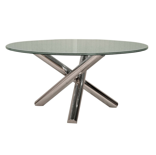 GOTHAM DINING TABLE WITH CLEAR CRACKLED GLASS TOP