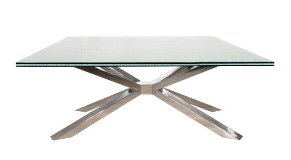 MANTIS DINING TABLE WITH CLEAR CRACKLED GLASS TOP