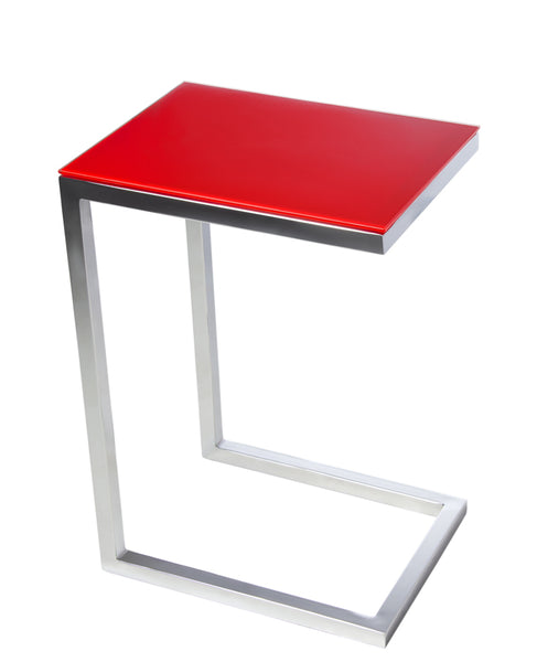 SAFARI CEE GLASS SIDE TABLE - Red