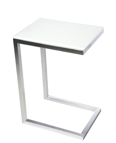 SAFARI CEE GLASS SIDE TABLE - White