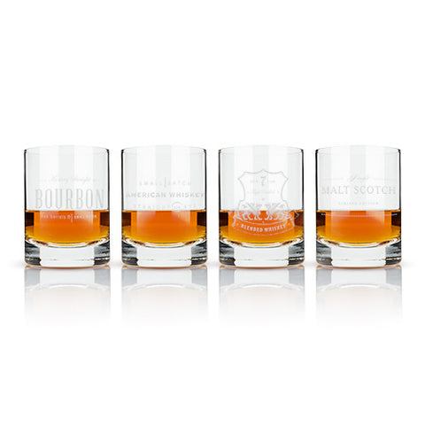 Admiral: Etched Whiskey Label Crystal Tumblers By Viski