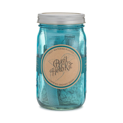 Blue Basil Herb Kit Garden Jar