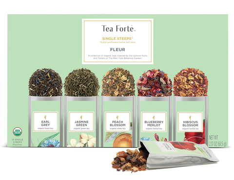 "Tea Forte ""Fleur"" Single Steeps Herbal Tea Sampler"