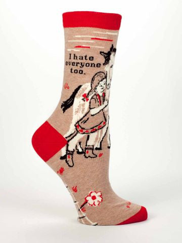 """I Hate Everyone Too"" Women's Crew Sock"