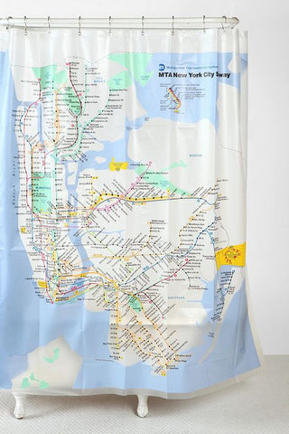 NYC Subway Map Vinyl Shower Curtain