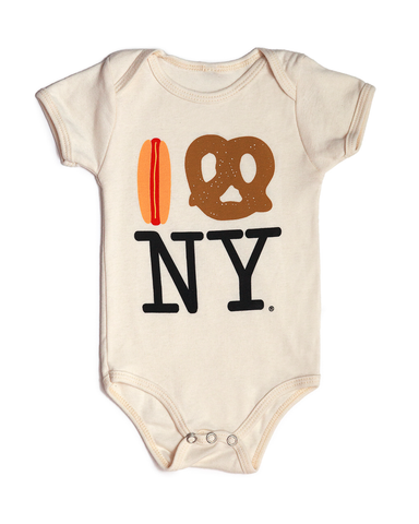 Hot Dog Pretzel NY Organic Onesie