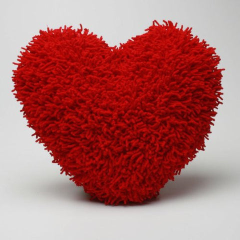 "Shaggy Chenille Red Heart Pillow, 16"" x 16"""