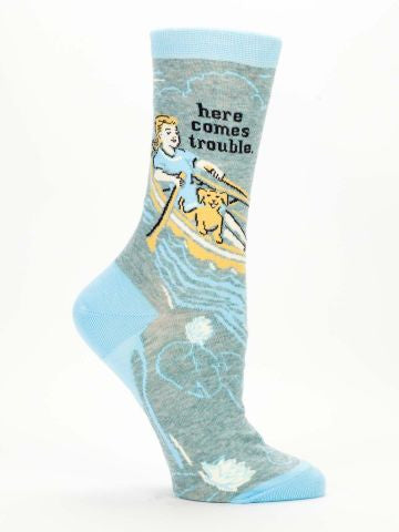 """Here Comes Trouble"" Women's Crew Sock"
