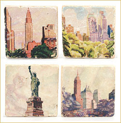 Vintage New York Marble Coaster Set