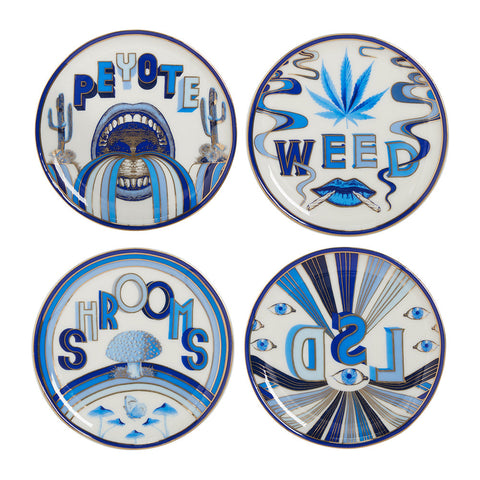 JONATHAN ADLER Druggist Coaster Set - Multi Blue