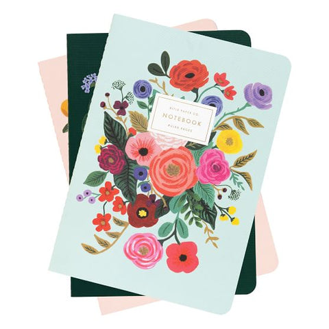 "Rifle Paper ""Garden Party"" Medium Notebooks Set/3"