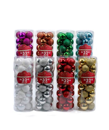 Miniature Shatterproof Shiny and Glitter Ball Ornaments, 8 Assorted