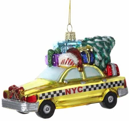 New York City Checker Taxi With Tree Glass Ornament