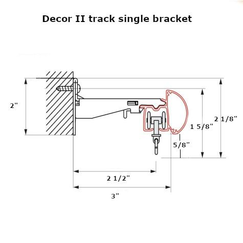 Decor 2 curtain track wall bracket dimensions