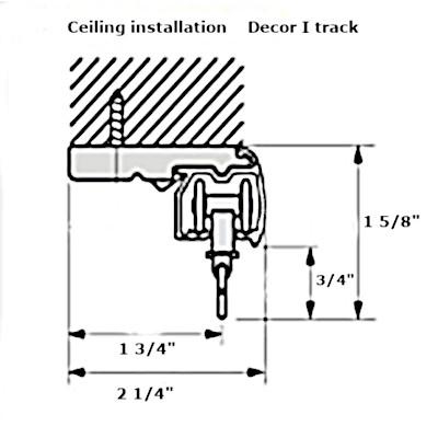 Decor I curtain track ceiling bracket dimensions