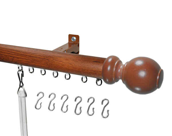 Decor 2 curtain track red oak ball finial
