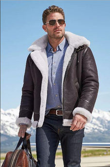 Classic Sheepskin B-3 Bomber Jacket with Detachable Hood (DARK BROWN/CREAM)