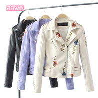 Embroidered rivet leather jacket