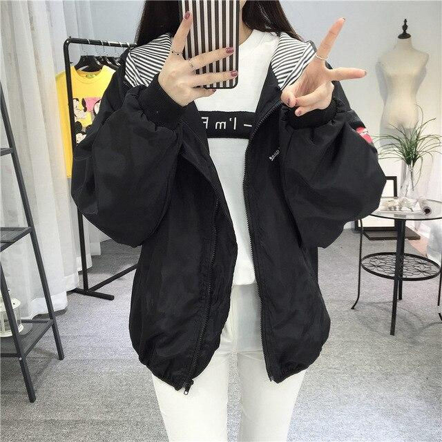 New Fashion Women Hooded Jackets Trendy Female Printed Letter Casual Zipper Womens Zebra Pattern Punk Females Outerwear Ladies