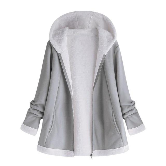 solid Pocket Zipper Long Sleeves Plush Hoodie
