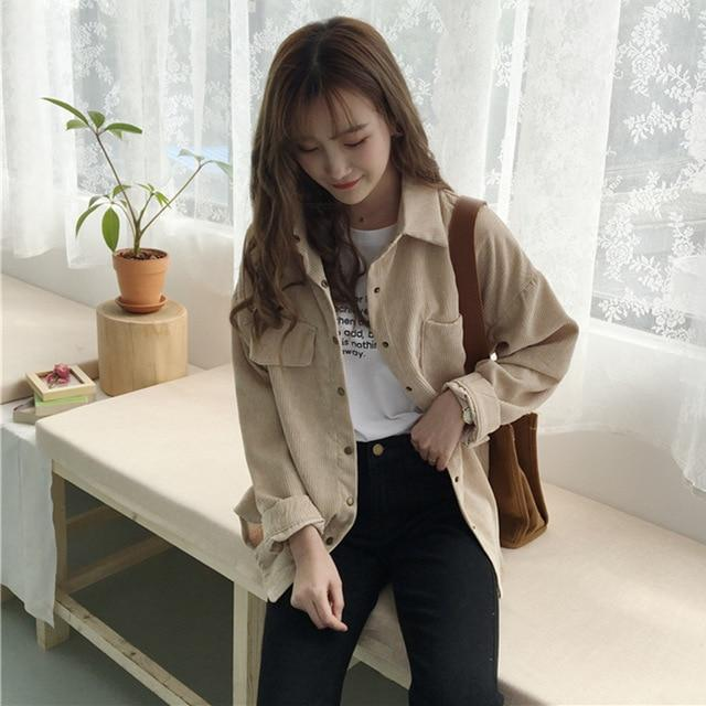 Corduroy Shirt Coat Women Fashion Long Sleeve Preppy Wide Jacket