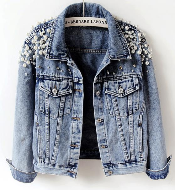 Pearls Beading Fashion Jeans Coat