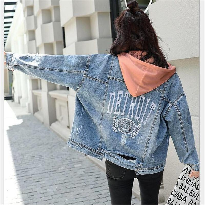 Detachable hooded denim jacket