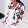 Flower Retro Ladies Short Thin Slim Bomber Jacket