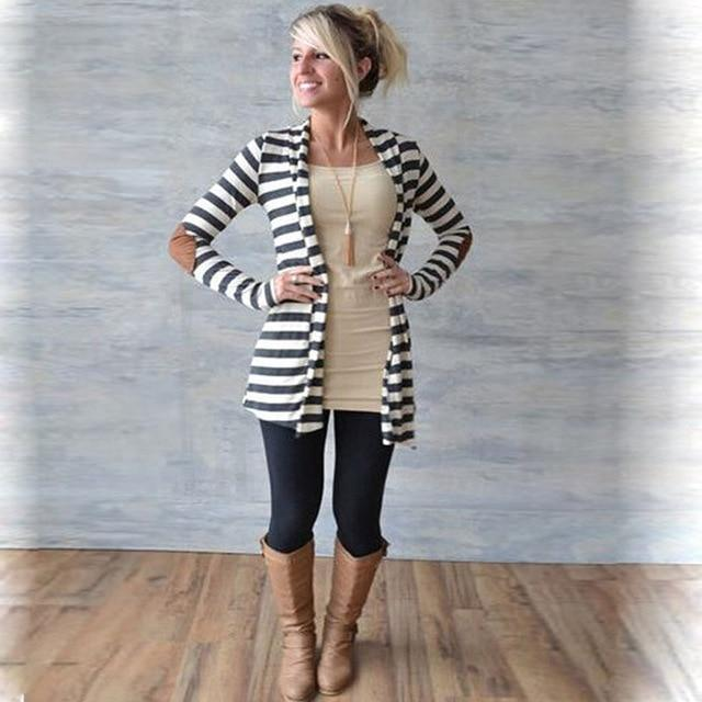 Trendy Slim Long Sleeve Striped Patch Cardigan Jacket