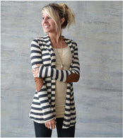 Slim long-sleeved striped arm patch cardigan cotton bomber jacket