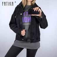 FATIKA Women Casual Black Solid Color Denim Jacket