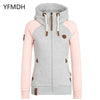 Solid Color Hooded Coat Windbreaker Female Zipper Jacket